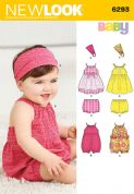 6293 New Look Pattern: Babies' Romper, Dress, Pants and Headband